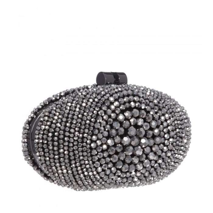 Clutch mit glänzenden Perlen in Silber