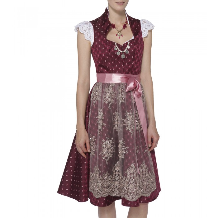 Seidendirndl Annabell in Pink mit Ornamenten