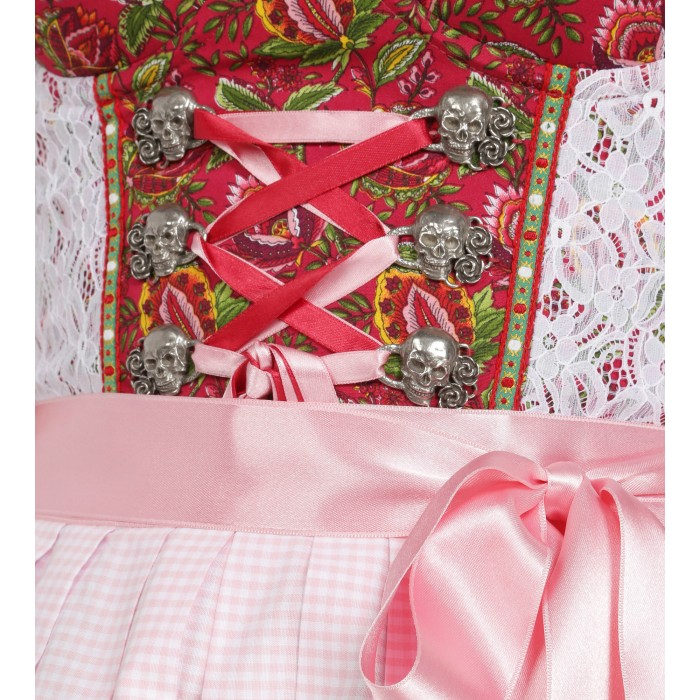Dirndl in Dunkelrot/Pink mit Karoschürze
