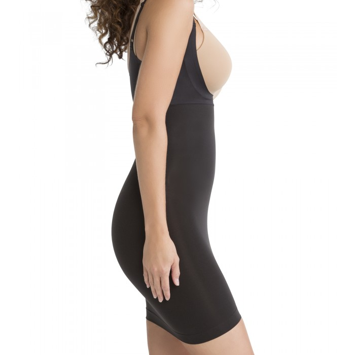 Shape my Day-Open-Bust Full Slip in Black