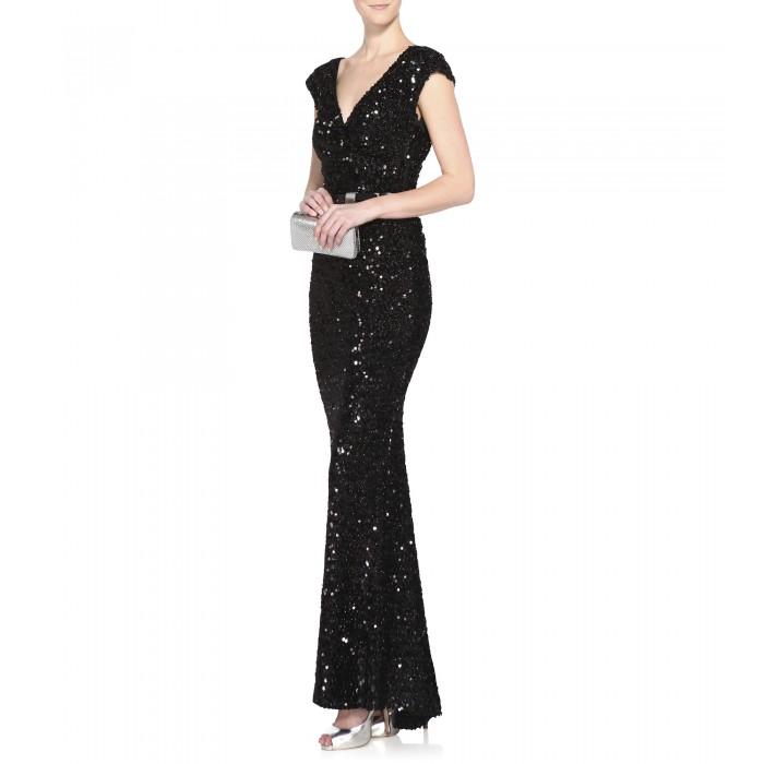 Elegantes bodenlanges Paillettenkleid mit Gürtel