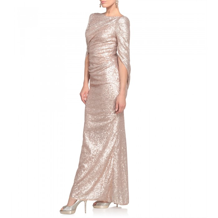 Paillettenkleid in Nude/Gold mit Cape