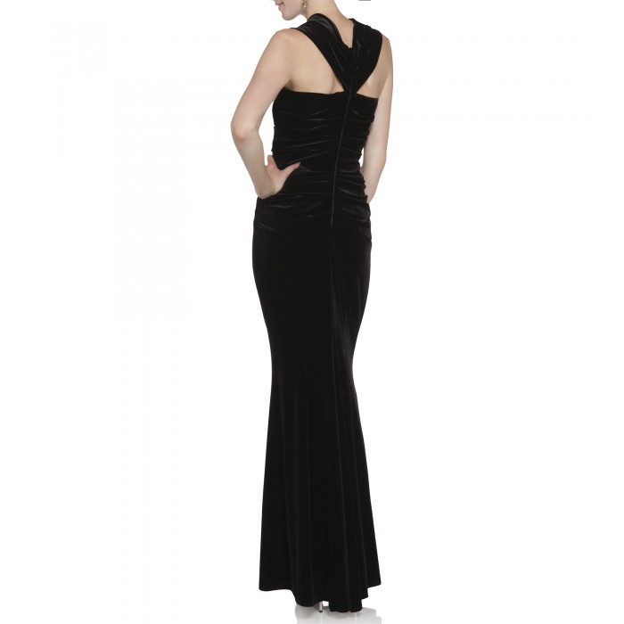 Off-Shoulder Samtkleid in Schwarz