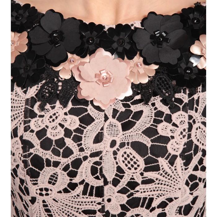 Cocktailkleid aus Spitze in Rosé/Schwarz