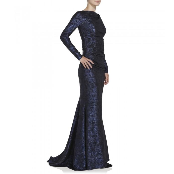 Abendkleid in Blau/Schwarz