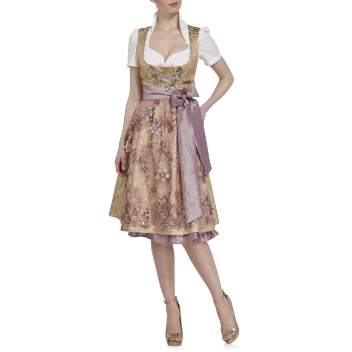 Brokat Dirndl in Gold