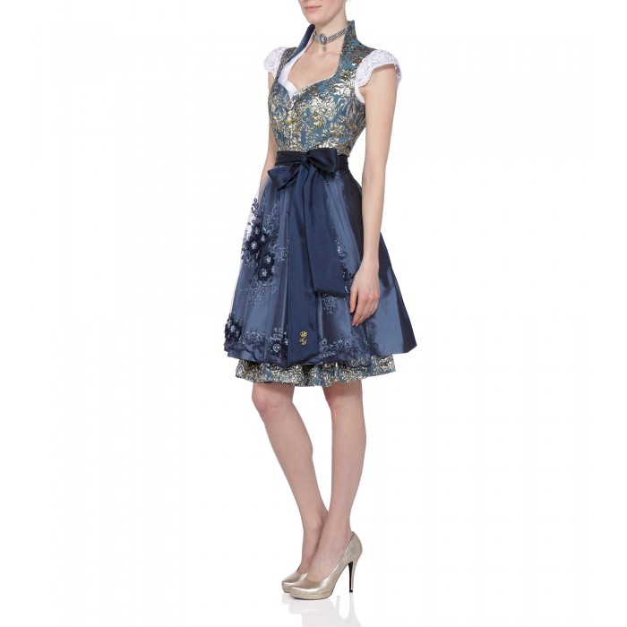 Dirndl in Blau/Gold