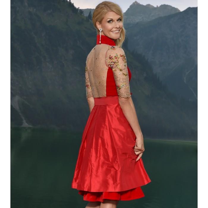 Samtdirndl in Rot mit transparentem Rücken