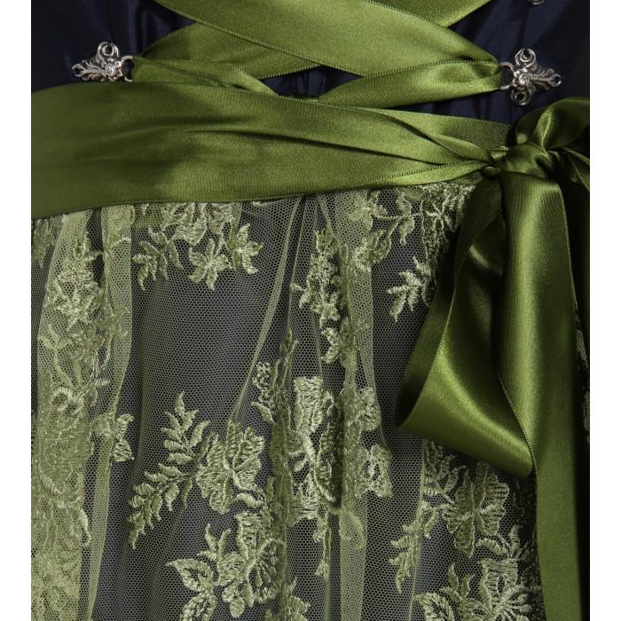 Blaugrünes Taftdirndl mit Spitzenschürze