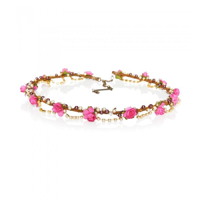 Haarkranz mit pinken Rosenblüten und Perlen