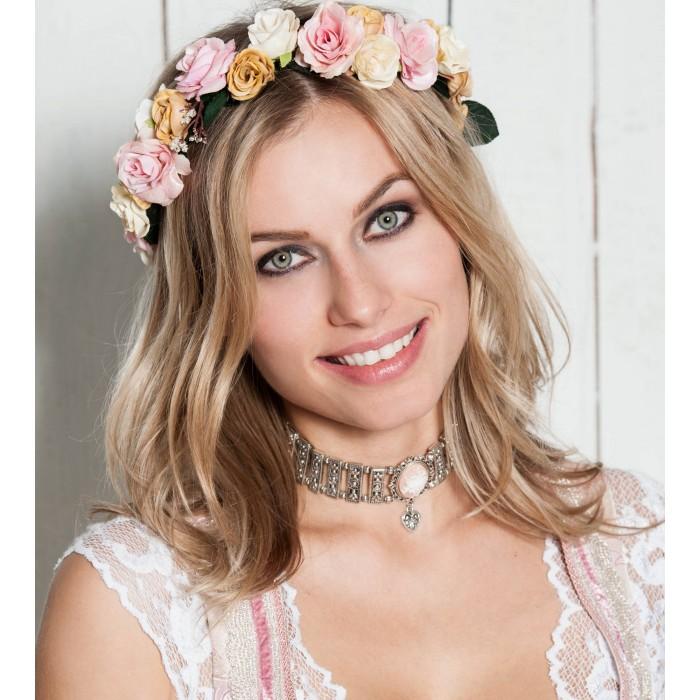Blumen-Haarband aus creme- und rosafarbenen Blüten