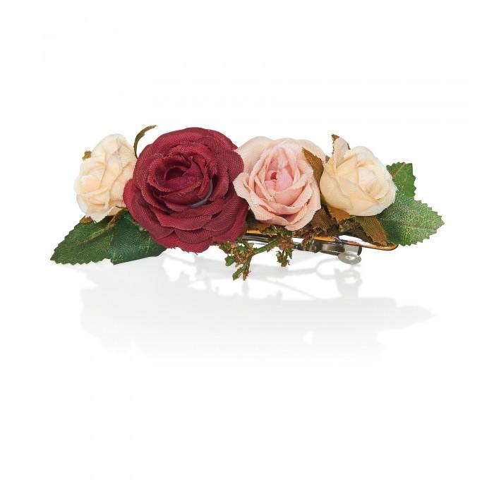 Blumen-Haarspange mit Rosen aus Satin
