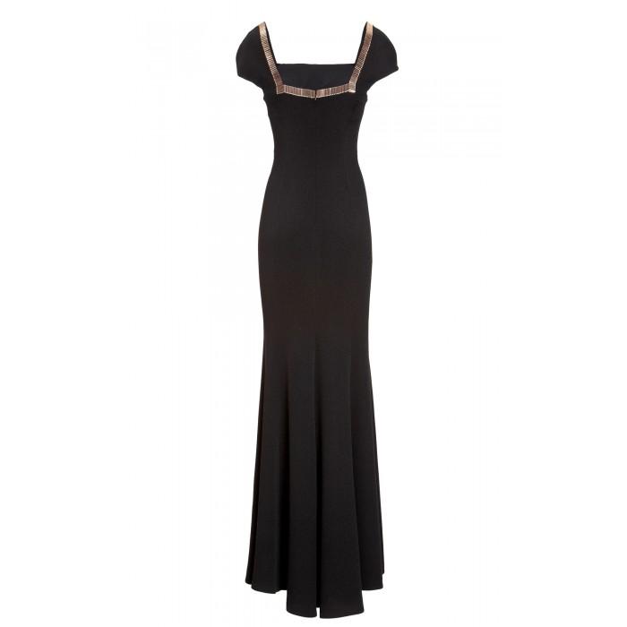 Luxuriöses Abendkleid mit Stiftperlen in Schwarz