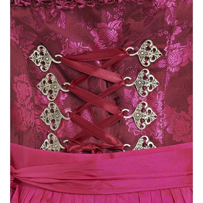 Pinkes Dirndl mit glänzendem Rosenmuster