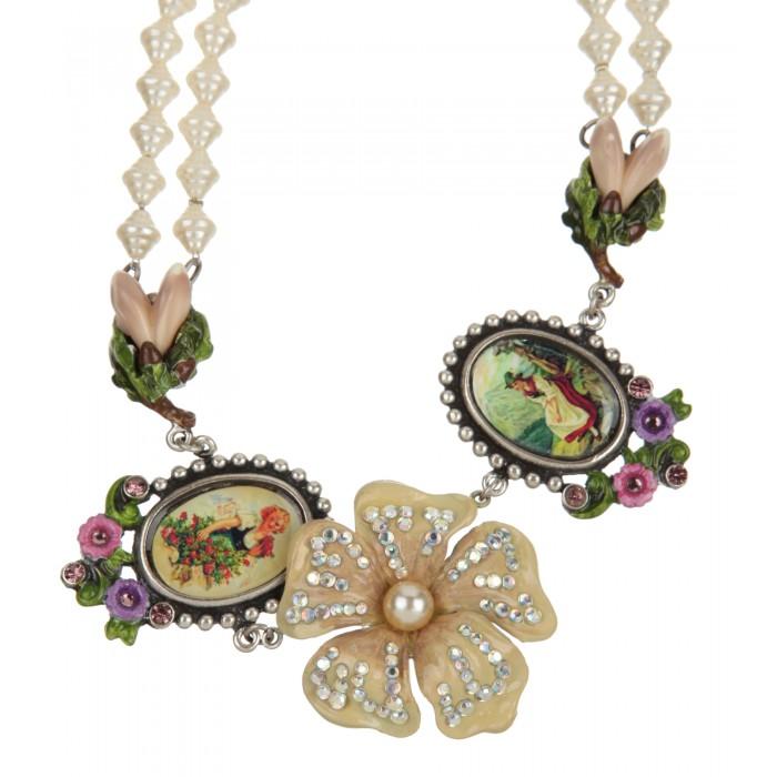 Perlen-Collier mit Blume