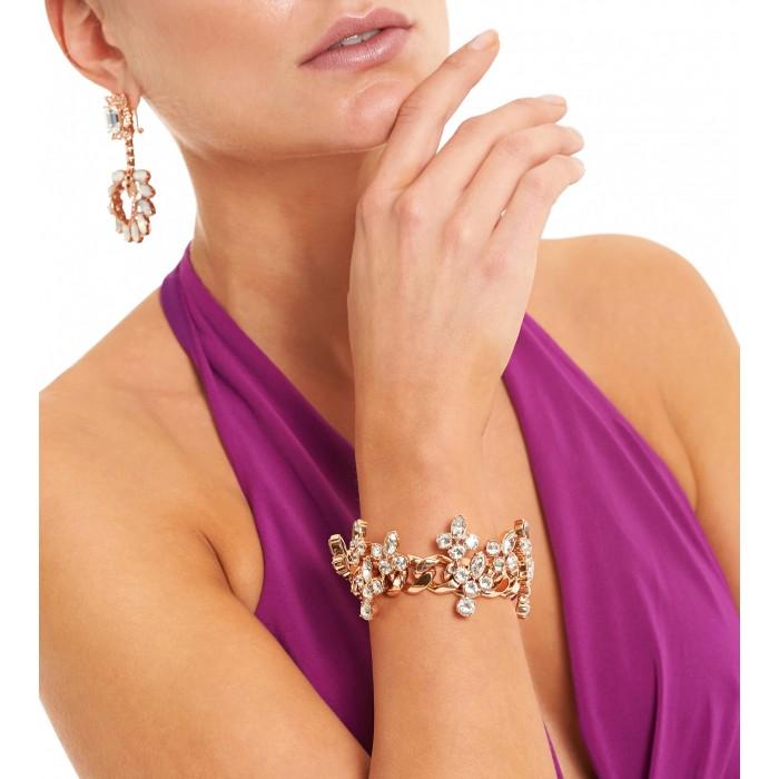 Roségoldenes Gliederarmband mit Kristallen