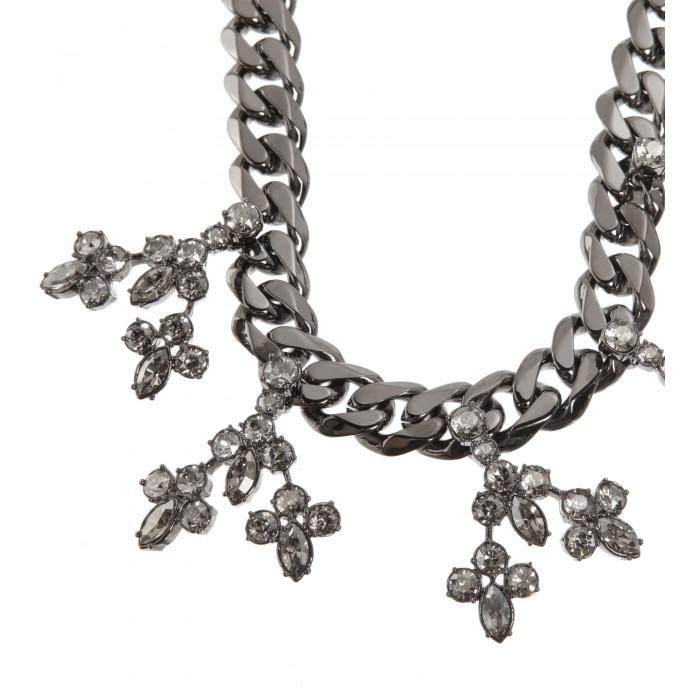 Silberne Gliederkette mit floralen Kristallen