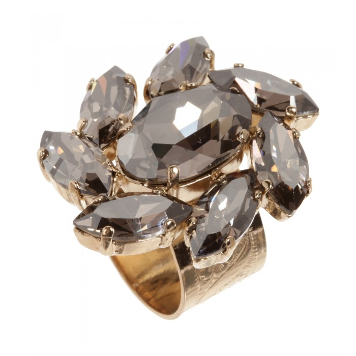 Floraler Schmuckstein-Ring in Silber