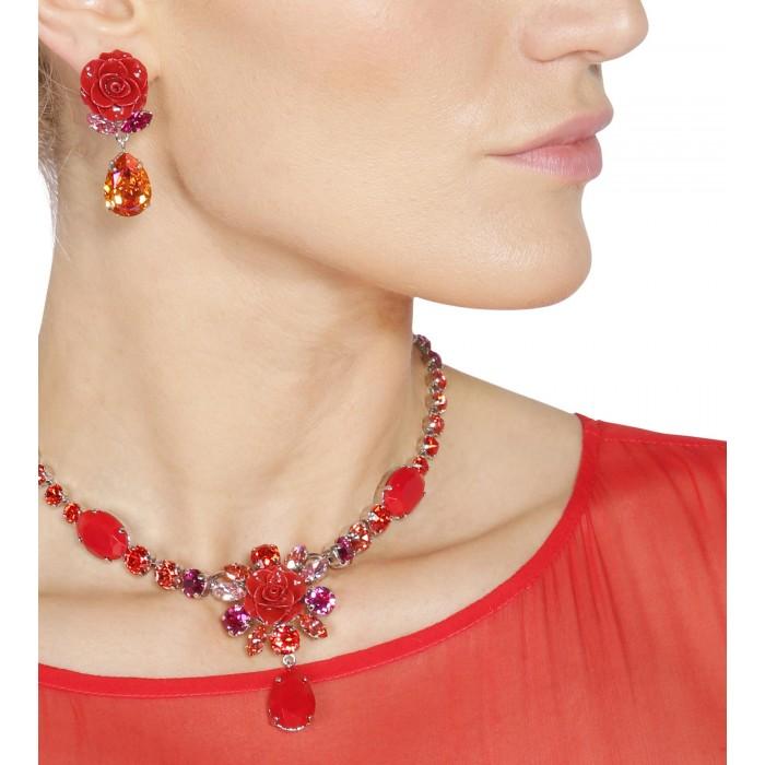 Rosenohrstecker in Rot mit Swarovski Kristallen