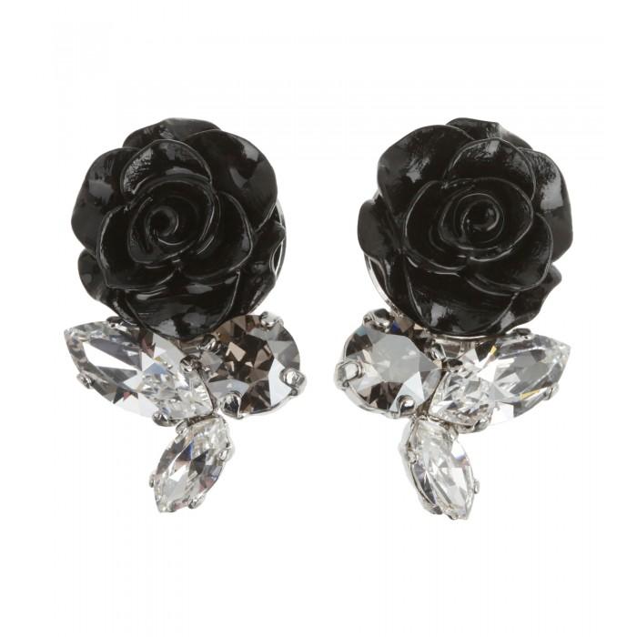 Rosen Ohrclips in Schwarz mit Swarovski Kristallen