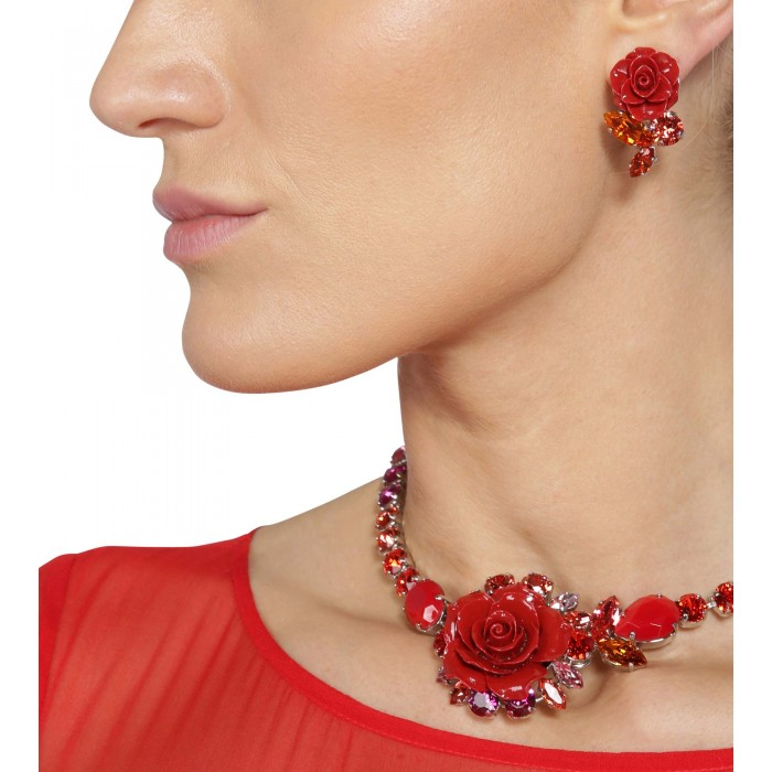 Ohrclips mit roter Rose