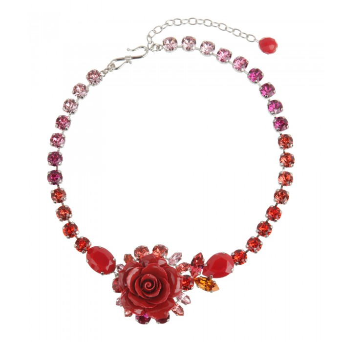 Collier mit Rose in Rot