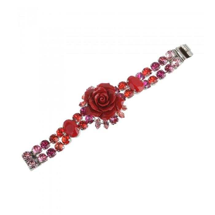 Kristallarmband mit roter Rose