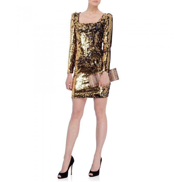 Minikleid mit Wende-Pailletten in Gold