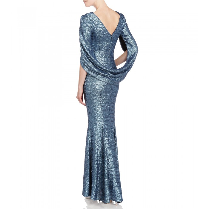 Kleid mit Cape in Eisblau