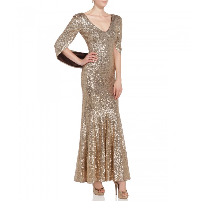 Kleid mit Cape in Gold