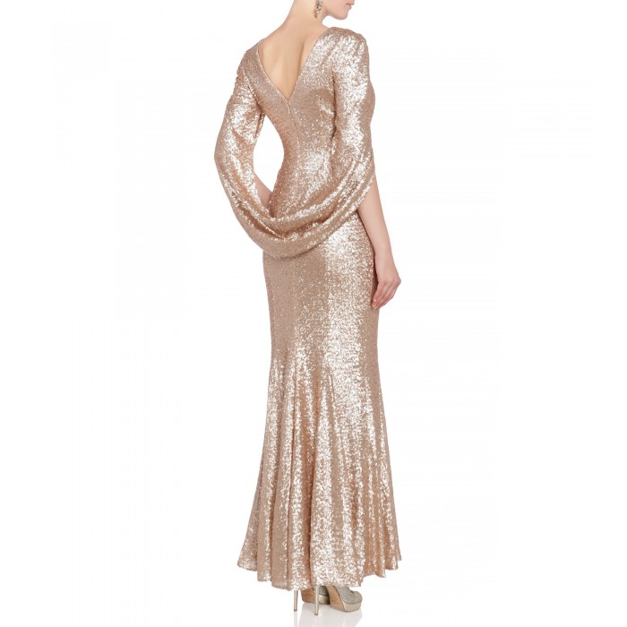 Abendkleid mit Cape in Nude