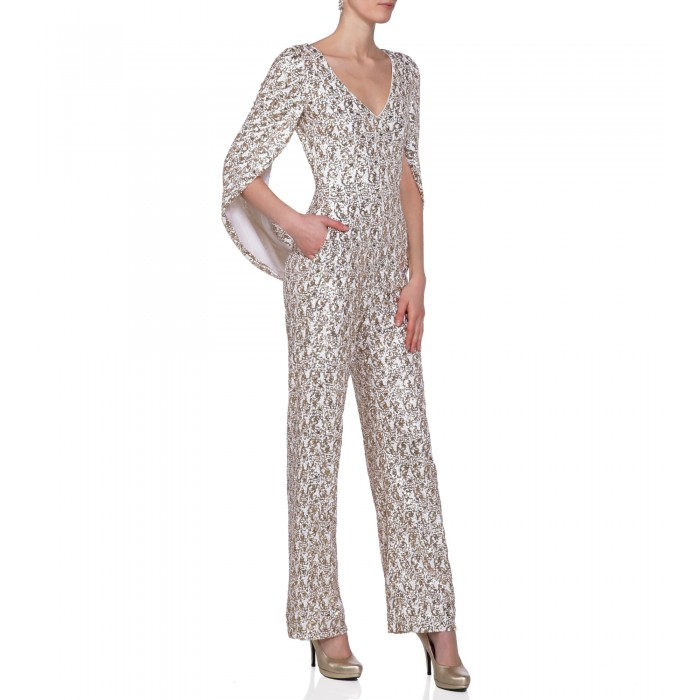 Jumpsuit mit Cape in Gold/Weiss