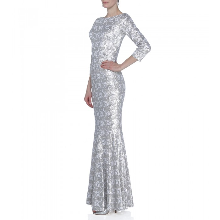 Kleid mit Pailletten in Silber-Weiss