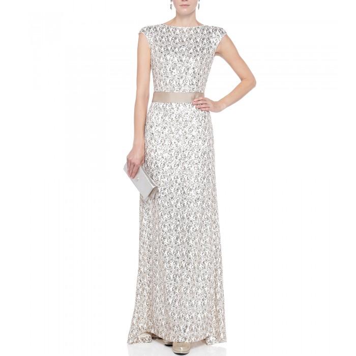 Abendkleid mit Schleife in Gold-Weiss