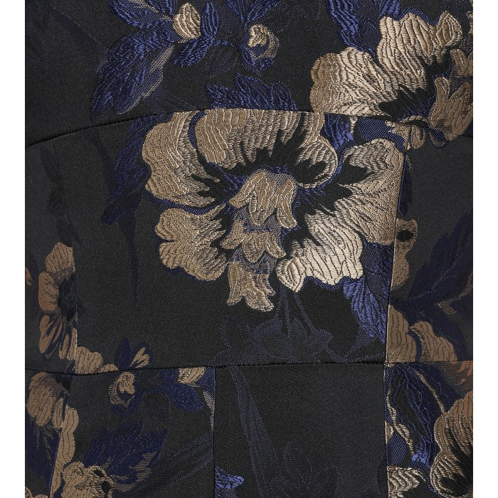 Abendrobe mit Blumendruck in Blau-Beige