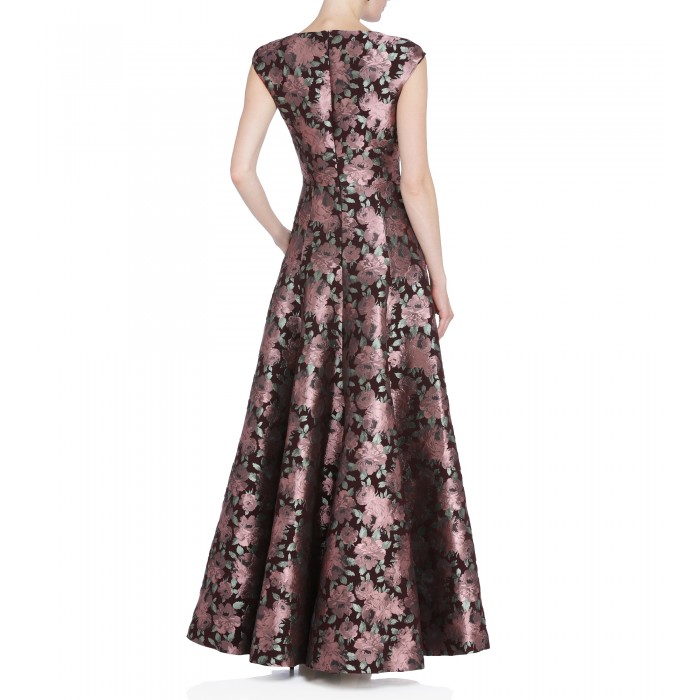 Brokatkleid mit Rosenprint in Rosé