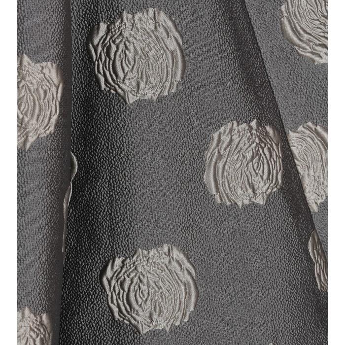Silbernes Brokatkleid mit Rosenprint in Beige