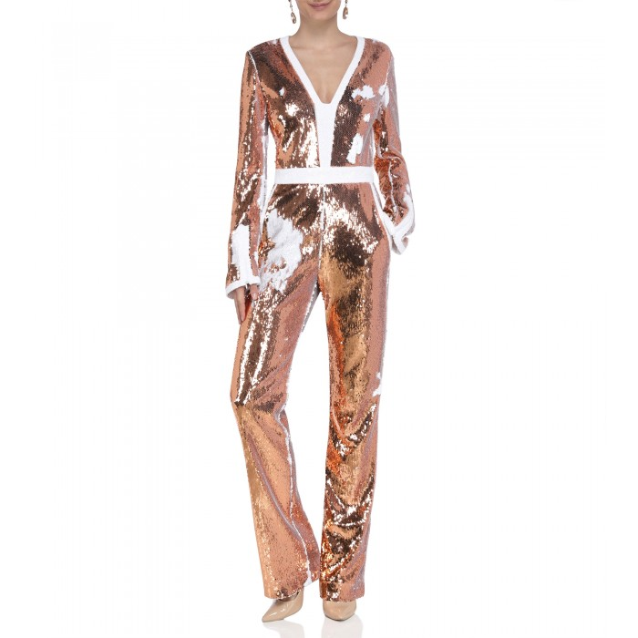 Jumpsuit mit Wendepaillette in Apricot