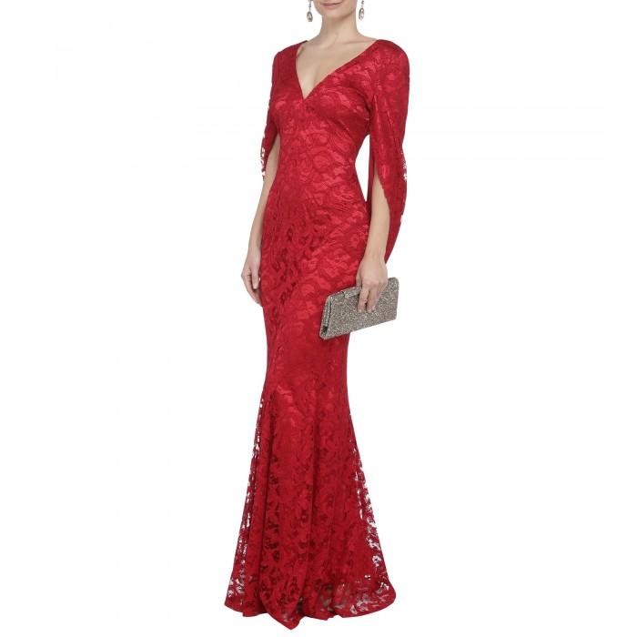 Kleid mit Cape aus roter Spitze