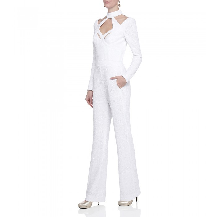 Pailletten-Overall mit Cut-Outs in Weiss