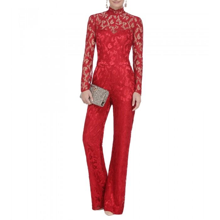 Jumpsuit in Rot mit Stehkragen
