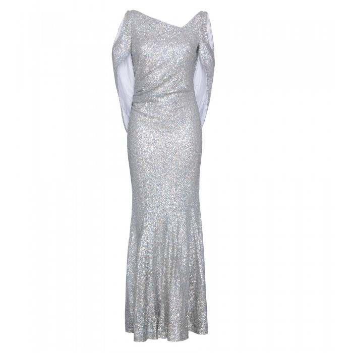 Paillettenkleid mit Cut-Outs in Holo-Silber