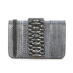 Abendtasche mit Schlangenprägung in Silber/Grau