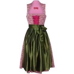 Dirndl in Rosé mit grüner Schürze