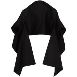 Schwarze Jacken-Stola aus Satin