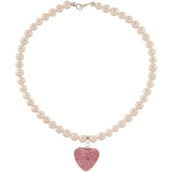 Perlenkette mit Herz aus pinken Swarovskisteinen