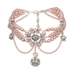 Rosafarbene Dirndlkette aus Perlen