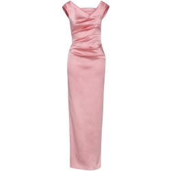 Kleid aus Stretch-Satin in Rosé