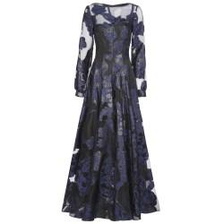 Robe mit Blumenstickerei in Blau/Schwarz