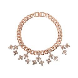 Roségoldene Gliederkette mit floralen Kristallen